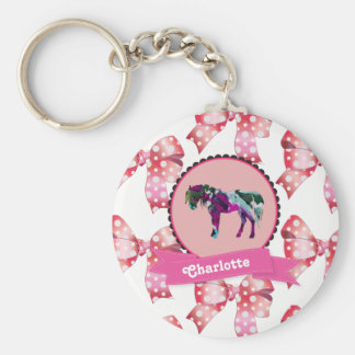 Personalized Cute Pink Modern Pony Keychain