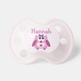 Personalized Cute Pink Owl Baby Girl Pacifier