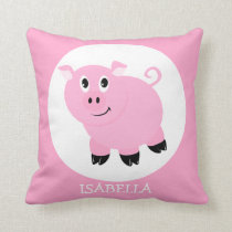Personalized Cute Pink Pig Cartoon Girls Throw Pillow