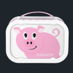 """Personalized Cute Pink Pig Girls Lunch Box<br><div class=""""desc"""">Personalized cute pink pig girls lunch box. Pink pig with curly tail on white background. Image is printed on both sides. Name is in white font. Cute little piggy school supplies for little girls. Makes a great gift for pig lovers.  Personalize with name on double sided lunch box.</div>"""
