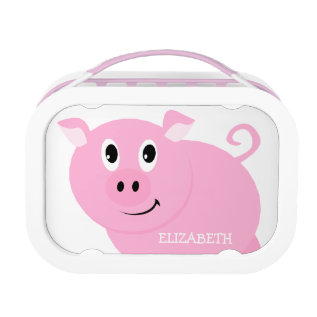 Personalized Cute Pink Pig Girls Lunch Box at Zazzle
