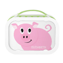 Personalized Cute Pink Pig Girls Lunch Box