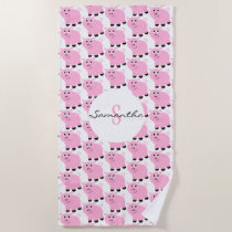 Personalized Cute Pink Pig Pattern Girls Animal Beach Towel