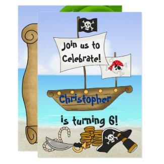 Personalized Cute Pirate Boy's Beach Birthday Invitation