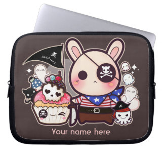Personalized - Cute pirate bunny with cupcake Computer Sleeves