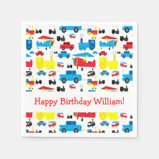 Personalized Cute Planes, Trains and Cars Birthday Napkin