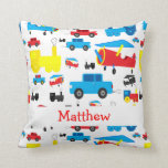 Personalized Cute Planes, Trains and Cars Collage Throw Pillow