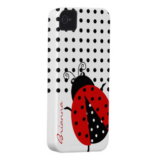 Personalized Cute Polka Dot Red Ladybug iPhone 4 Cover