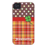 Personalized Cute Polka Dots & Four-leaf Clover Case-Mate iPhone 4 Cases