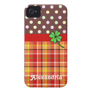 Personalized Cute Polka Dots & Four-leaf Clover iPhone 4 Case