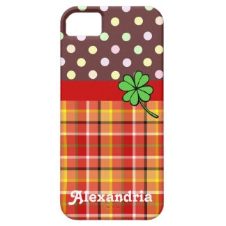 Personalized Cute Polka Dots & Four-leaf Clover iPhone SE/5/5s Case