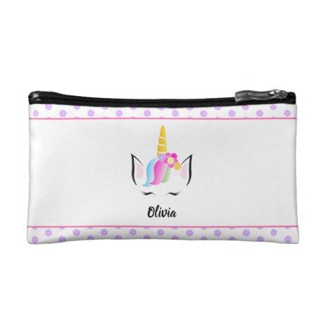 Personalized Cute Pretty Unicorn illustration Cosmetic Bag