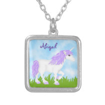 Personalized Cute Purple and White Unicorn Silver Plated Necklace