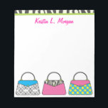 """Personalized Cute Purse Handbag Notepad<br><div class=""""desc"""">The perfect gift for any fashionista! Personalize with your name or text. Other matching products available at www.gem-ann.com (Zazzle store).</div>"""