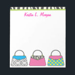 "Personalized Cute Purse Handbag Notepad<br><div class=""desc"">The perfect gift for any fashionista! Personalize with your name or text. Other matching products available at www.gem-ann.com (Zazzle store).</div>"