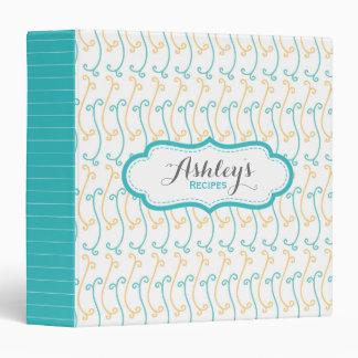 Personalized Cute Recipe Aqua and Yellow Pattern Binder