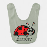 Personalized Cute Red and Black Lady Bug Bib