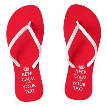 Beach Themed Personalized cute red Keep calm beach flip flops