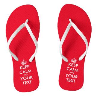 Personalized cute red Keep calm beach flip flops