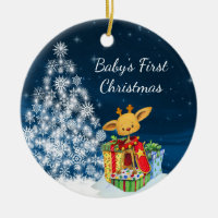 Personalized Cute Reindeer Baby's First Christmas Ceramic Ornament