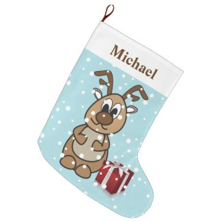 Personalized Cute Reindeer Large Christmas Stocking