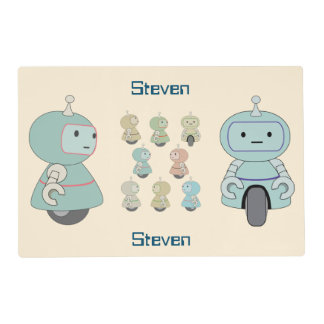 Personalized Cute Retro Robot Pattern Placemat
