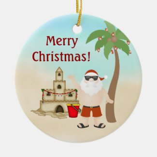 Personalized Cute Santa Beach Christmas Ornament