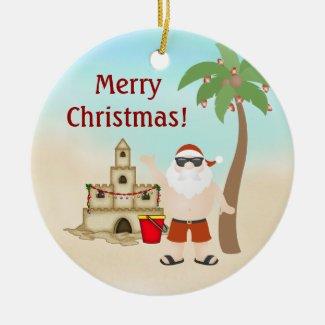 Personalized Cute Santa Beach Christmas Ornament