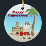"Personalized Cute Santa Beach Merry Christmas Ceramic Ornament<br><div class=""desc"">Personalized Cute Santa Beach Holiday Merry Christmas Ornament with decorated palm trees,  a sandcastle and holiday ornaments.  Some graphics by artwork&@delightful-doodles.com. *</div>"