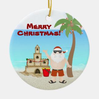 Personalized Cute Santa Beach Merry Christmas Ceramic Ornament