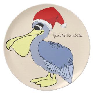 Personalized Cute Santa Pelican Plate
