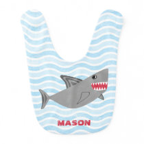 Personalized Cute Shark Blue Waves Bib