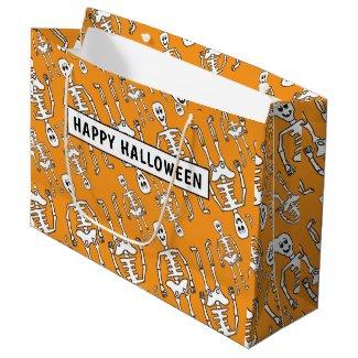 Personalized Cute Skeleton Bones Large Gift Bag