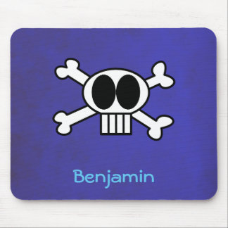 Personalized Cute Skull and Crossbones Mouse Pad