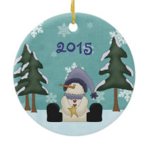 Personalized Cute Snowman Baby's First Christmas Ceramic Ornament