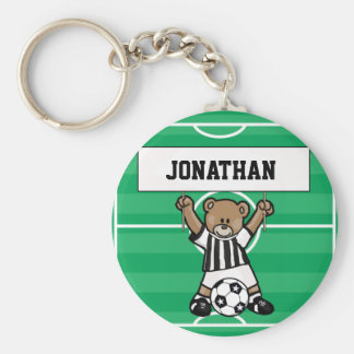 Personalized Cute Soccer Bear Party Favours Keychain