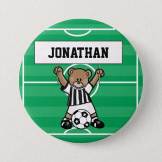 Personalized Cute Soccer  Bear Party name buttons