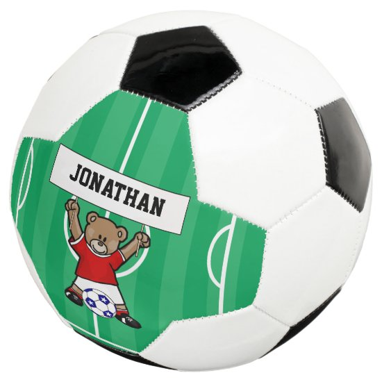 Personalized Cute Soccer Bear Red Soccer Ball