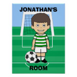Personalized Cute Soccer Player Green White hoops Poster