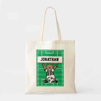Personalized Cute Soccer Teddy Bear Birthday treat Tote Bag