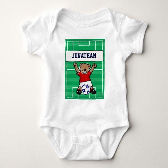 Personalized Cute Soccer Teddy Bear (red) Baby Bodysuit