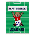 Personalized Cute Soccer Teddy Bear (red) Greeting Cards