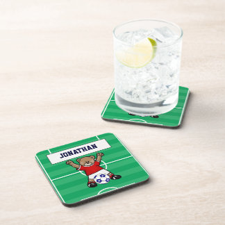 Personalized Cute Soccer Teddy Bear (red) Drink Coaster