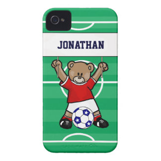 Personalized Cute Soccer Teddy Bear (red) iPhone 4 Case-Mate Cases