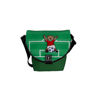 Personalized Cute Soccer Teddy Bear (red) Messenger Bag