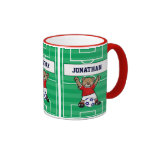 Personalized Cute Soccer Teddy Bear (red) Coffee Mugs