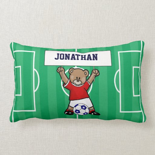 Personalized Cute Soccer Teddy Bear (red) Throw Pillow