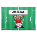 Personalized Cute Soccer Teddy Bear (red) Placemats