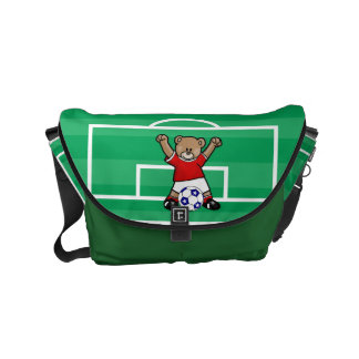 Personalized Cute Soccer Teddy Bear (red) Small Messenger Bag