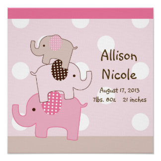 Personalized Cute Stacked Elephants Wall Art